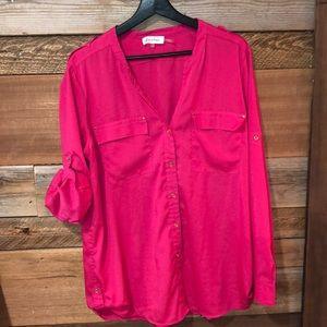 Calvin Klein Hot Pink Blouse XL